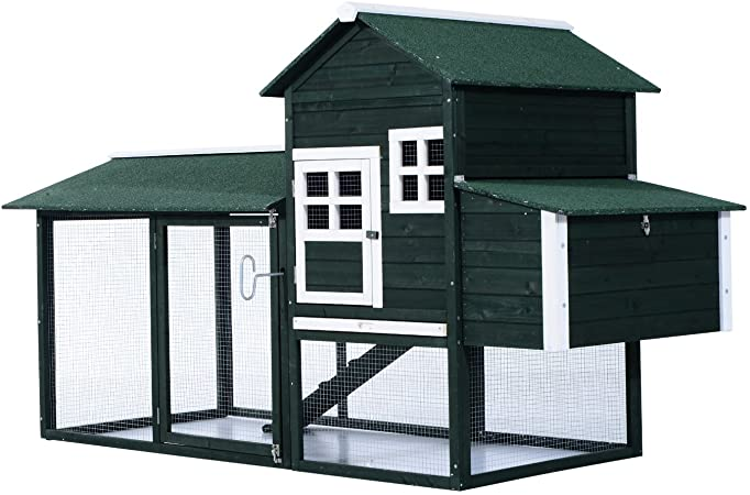PawHut Wooden Backyard Coop with Covered Run for Chickens  review